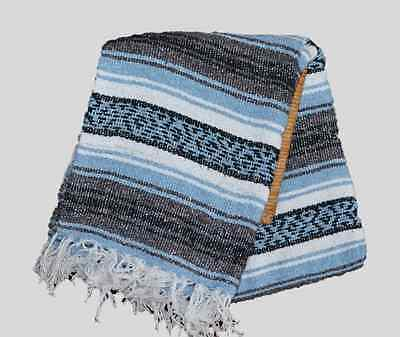 55 inch Color Light blue MEXICAN Falsa Blanket Yoga Mat NEW Size 75