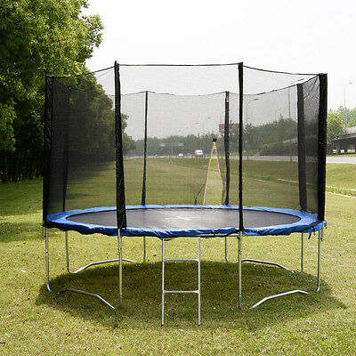 14 FT Trampoline Combo Bounce Jump Safety Enclosure Net W/Spring Pad & Ladder