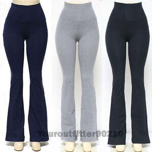 YOGA-Pants-Athletic-Fitness-Foldover-Waistband-Flare-Leg-amp-Tight-Leg-95-Cotton