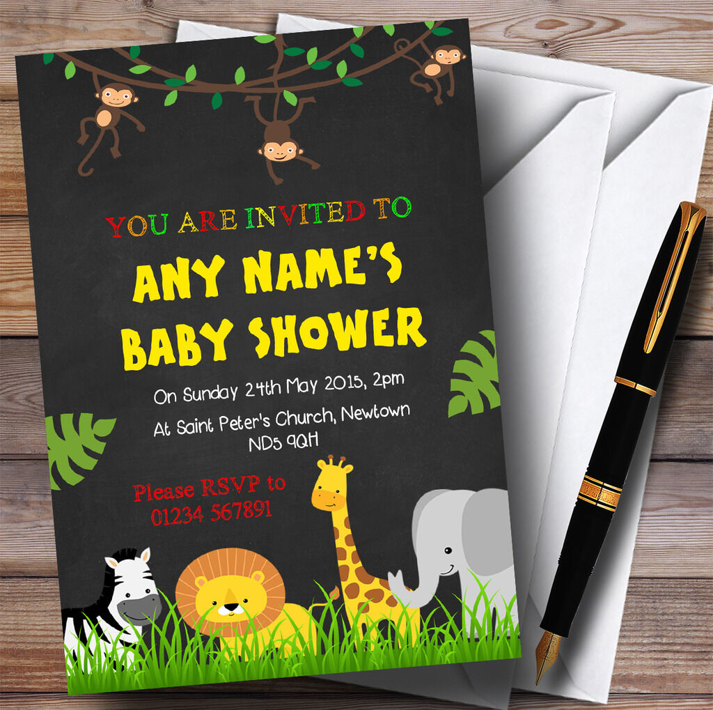 N'importe Baby quel âge craie Jungle animaux Invitations Baby N'importe Shower Invitations 375520