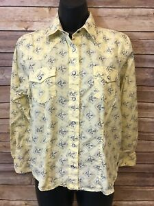 Womens-ROCKIES-Pearl-Snap-Shirt-Size-Large-Yellow-long-Sleeve-Button-Down-top