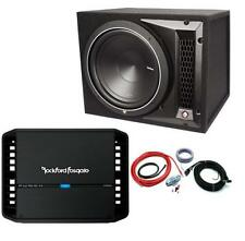 "Rockford Fosgate Punch P1-1x12 12"" Enclosed Subwoofer + P300X1 Amplifier + Kit"