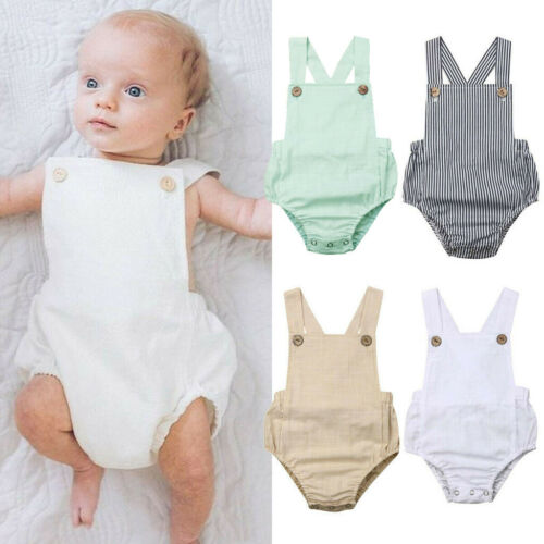 0-3Y Toddler Baby Kids Girls Boys Sleeveless Solid Stripe Romper Sunsuit Clothes