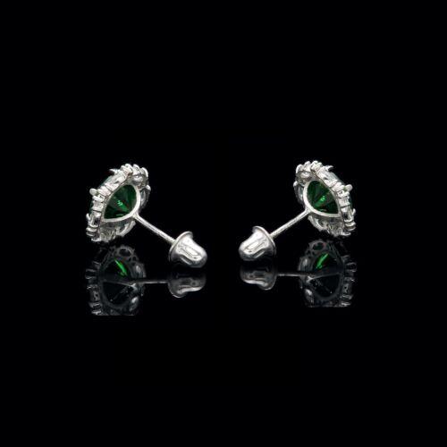 2.00CT Green Emerald Halo Marquise Created Diamond Stud Earrings 14k White Gold