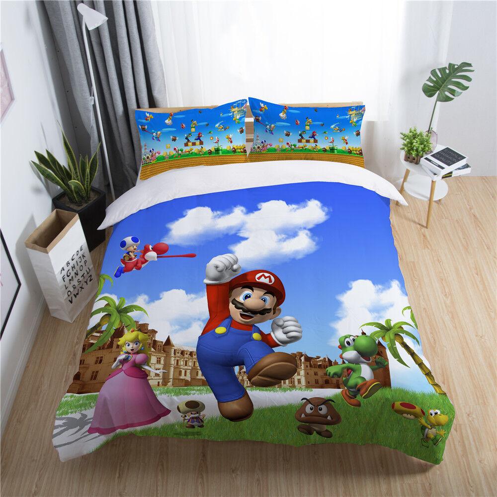 3D Super Mario Bros. Peach Kids Bedding Set Duvet Cover Quilt Cover Pillowcase