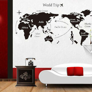 World trip travel map wall stickers art vinyl decal home decor image is loading world trip travel map wall stickers art vinyl gumiabroncs Choice Image