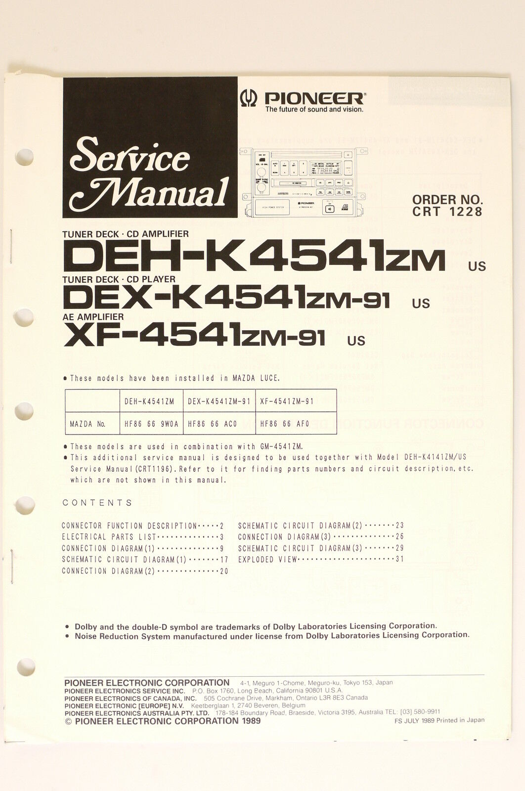 PIONEER DEH-K4541 DEX-K4541 XF-4541/ZM Original Service Manual/Wiring  diagram! | eBay