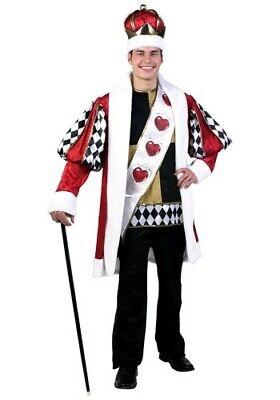King Of Hearts Halloween Costume Fun Large L New Crown Sash Tunic