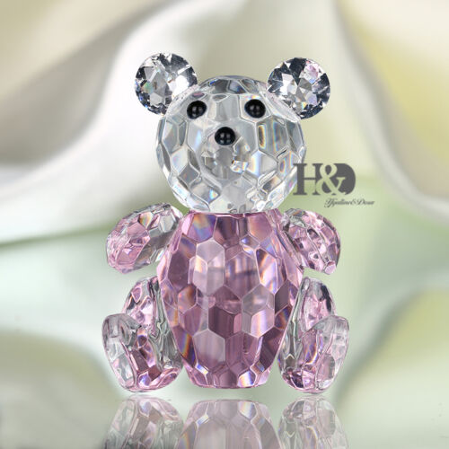 Crystal Figurine Pink Teddy Bear  Wedding Gift  Paperweight Ornament Mini Gifts