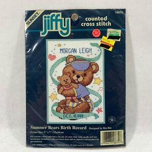 Dimensions-Sunset-Mini-Cross-Stitch-Kit-5x7-New-Baby-Birth-Record-Teddy-Bears