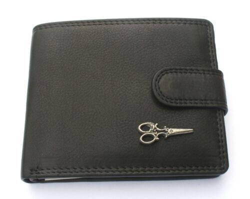 Scissors Mens Leather Wallet BLACK or BROWN Hair Dressers Gift 312
