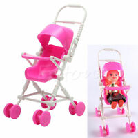 Assembly Baby Stroller Trolley Toys Nursery Furniture For Barbie Doll Pink