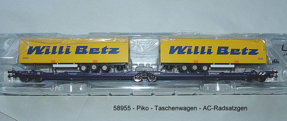 Piko 58955  Vagone borsaagli T3000e Nacco con 2  Willi Bindi  Trailern AC