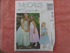 McCall's 3113 girls special occasion flower girl dress sewing pattern size 4-5-6