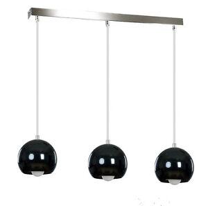 Metal-Pendant-Ball-Ceiling-Light-Chrome-Black-Lampshade-Retro-Modern-Fitting-LED
