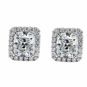 Image Is Loading 2 66 Carat Radiant Cut Diamond Earring D