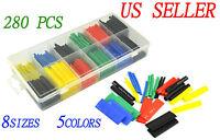 280pcs 5 Colors 8 Sizes Assorted 2:1 Heat Shrink Tubing Wrap Sleeve Kit