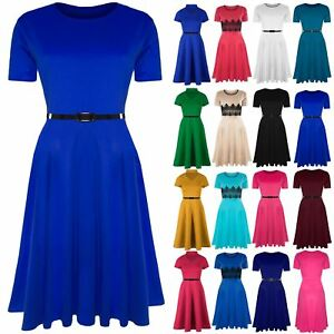 Details about Womens Skater Dress Ladies Belted Cap Sleeve Flared Swing  Plus Size Midi Dresses