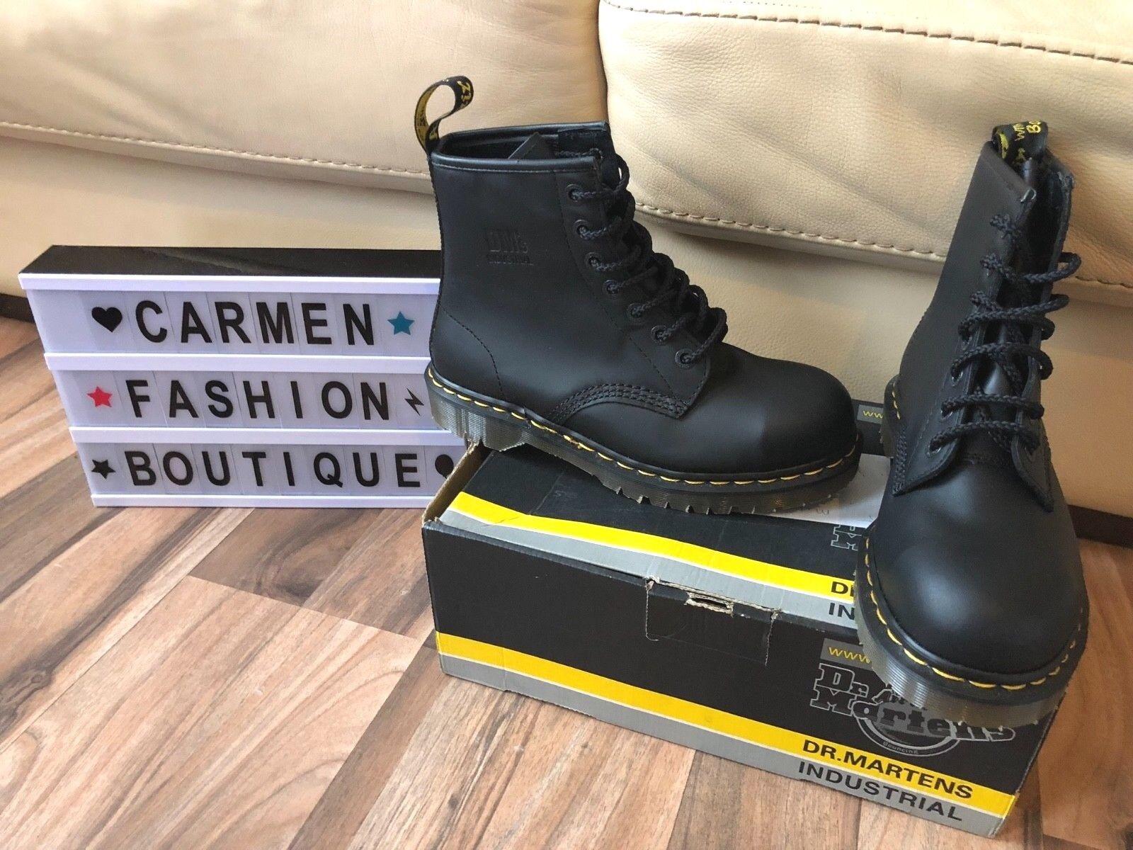 Auth nuevo y en caja Dr Martens Industrial Negro botas De Trabajo Con Puntera De Acero nos 8 9