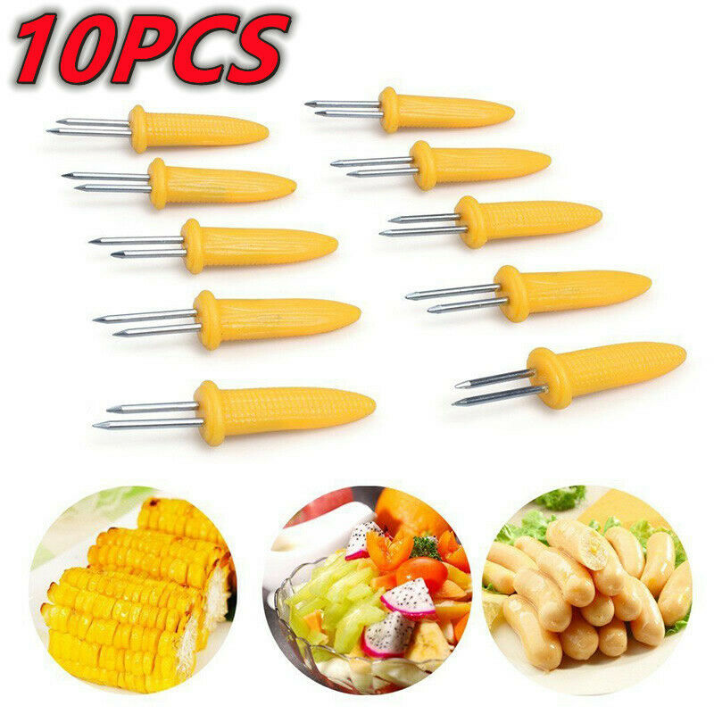 10 BBQ Corn On The Cob Skewer Stainless Steel Holder Prongs forks Sweetcorn Grip