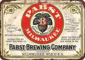 Pabst-blue-ribbon-beer-brewing-company-Vintage-Retro-Metal-Sign-8-034-x-12-034