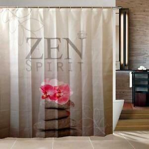 Image Is Loading Zen Spirit Pink Orchid Pebbles Bathroom Shower Curtain