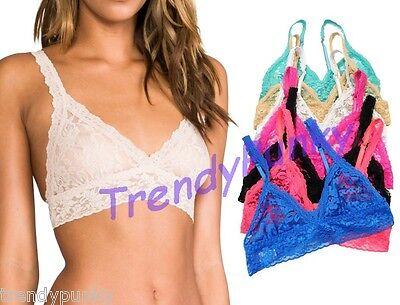 Floral Lace Bralette Bra Top Sheer Ruffle Crochet Bustier Crop Cami Ruche