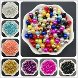 4mm-10mm Acrylic Spacer Beads Round Pearl Spacer Loose Beads For Jewelry Making