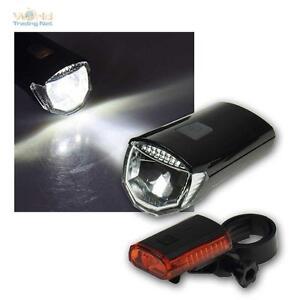 Bicicleta LED luz faros luz trasera batería StVZO iluminación para bicicleta set