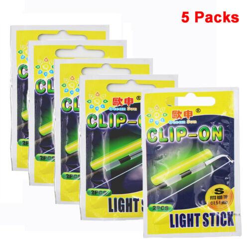 5 packs Luminous Clip On Fishing Rod Light Sticks Fishing Float Glow Stick
