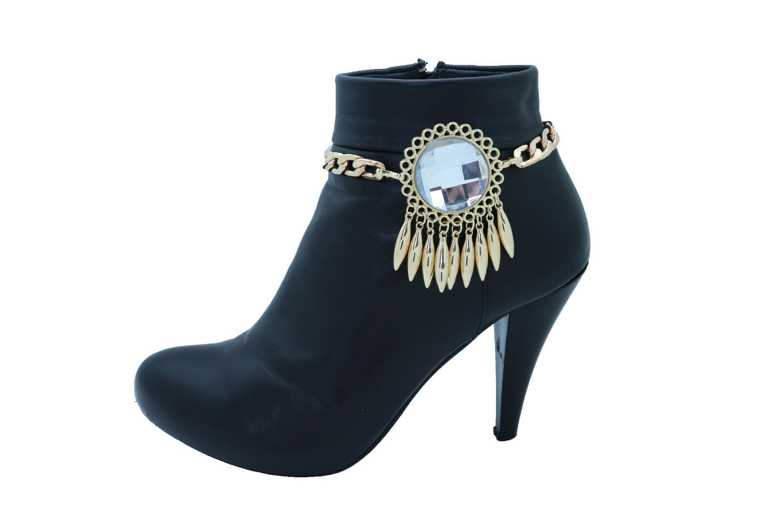 Women Gold Metal Boot Chain Bracelet Shoe Anklet Big Sun Flower Charm Night Club