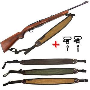 Hunting-Leather-Rifle-Shotgun-Canvas-Gun-Sling-Strap-Shooting-Tactical-Swivels