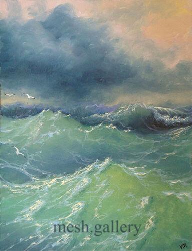 "199-5/""x7/"" CANVAS GICLEE MESH FINE ART PRINT SEASCAPE Wave Ocean Storm Seagulls"