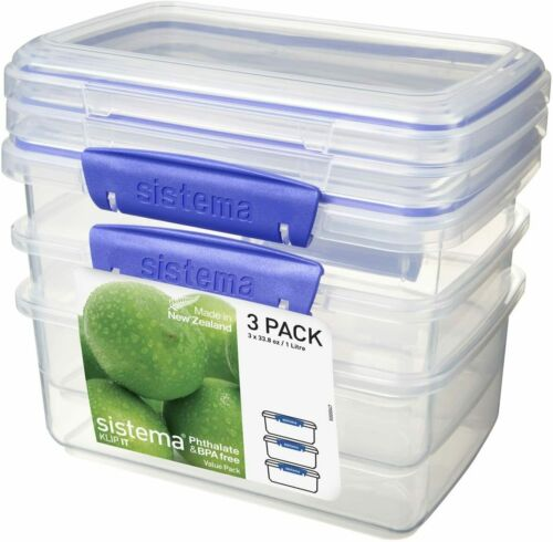 Pack of 3 1 Litre Sistema Luch Box Food Storage Containers Blue Clips