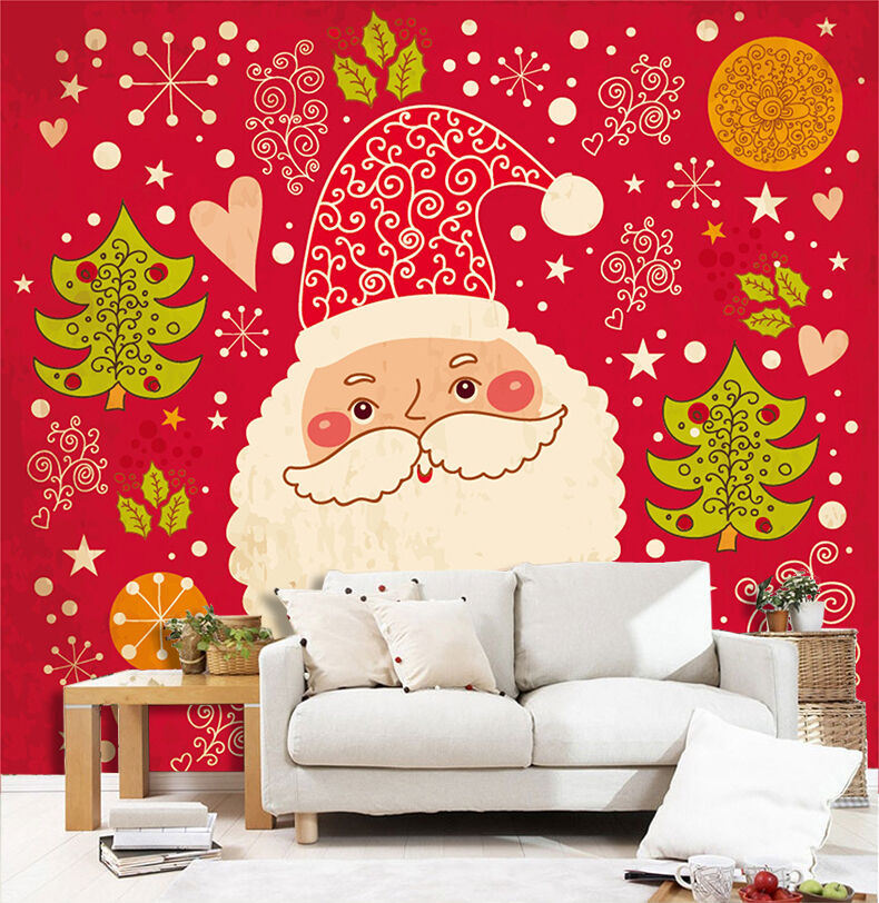 3D Father Christmas Face 52 Wall Paper Wall Print Decal Wall Deco Indoor Wall