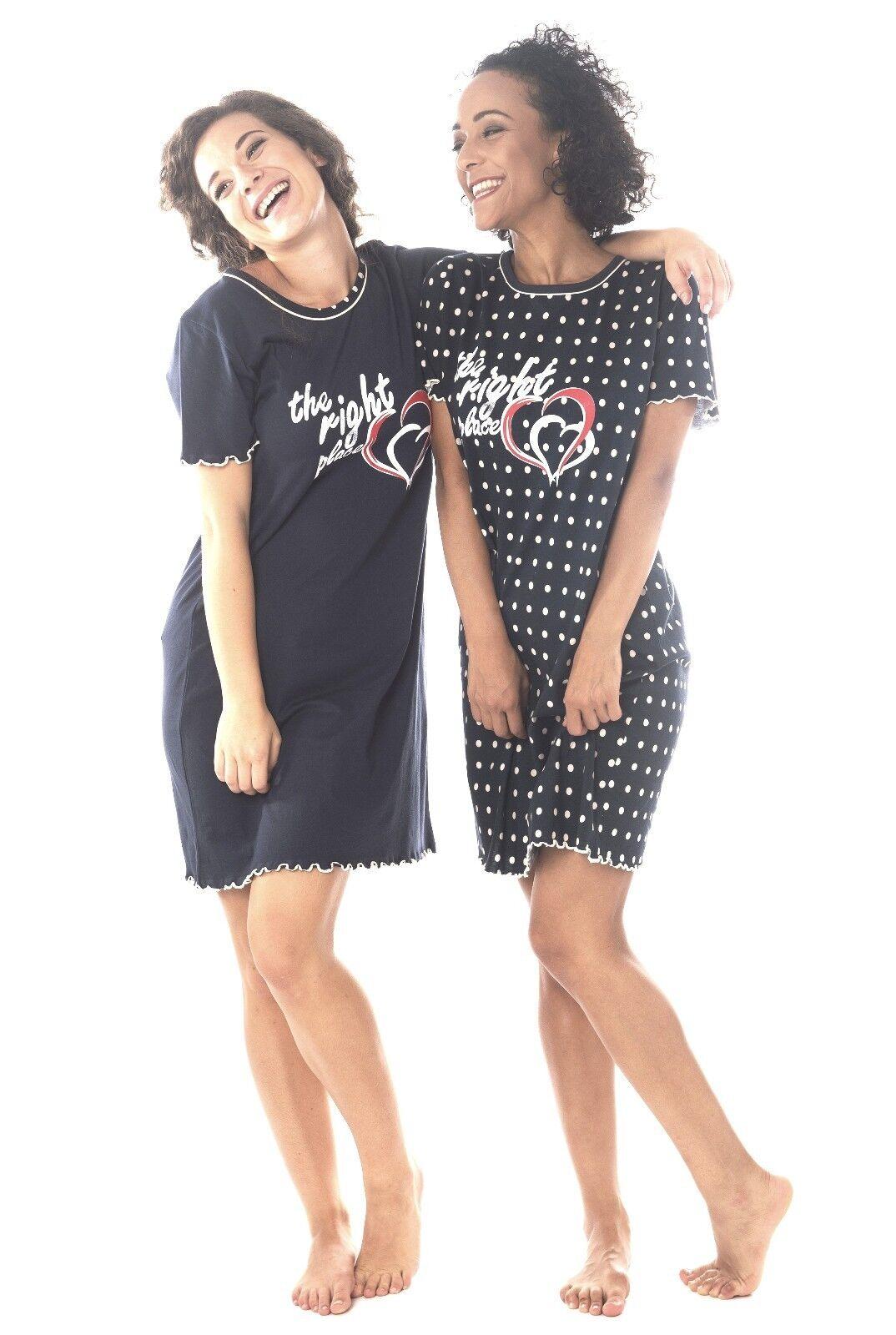 Damen Nachthemd 2 Stück = 1 Preis DF615V Kurzarm  100/% Baumwolle Jersey