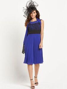 4f6923b3 BNWT BERKERTEX BLUE CHIFFON & LACE DRESS WITH MATCHING WRAP SIZE UK ...