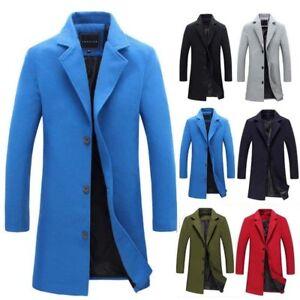 Men's Long Overcoat Coat Jacket Trench Winter Warm British Casual Wool Outwear