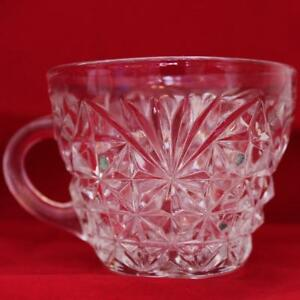 Vintage-Anchor-Hocking-Arlington-Pressed-Glass-Punch-Bowl-Cup-4-Available