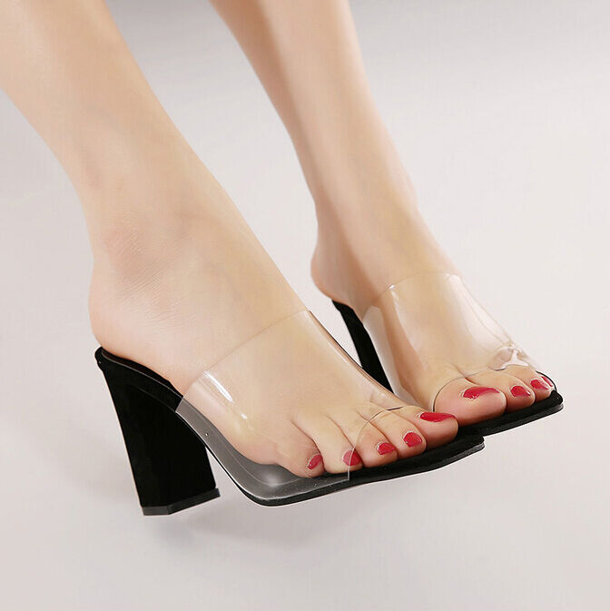 Femme Clair Transparent sandales talon bottier haut ouvert toeslides Mules Party Hot