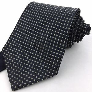 TOMMY-HILFIGER-USA-Classic-Wide-Navy-Grid-Green-Dotted-100-Silk-Neck-Tie