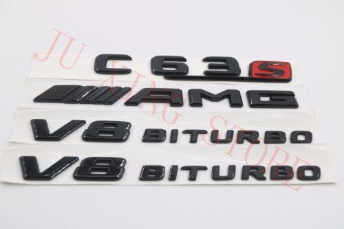2018 Flat Gloss Black Badge Emblem C63S+AMG+V8 BITURBO for Mercedes Benz C-Class
