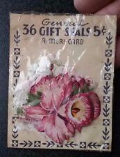 Vintage A-Meri-Card floral flower seals stickers 5 cent 1940s unopened scrapbook