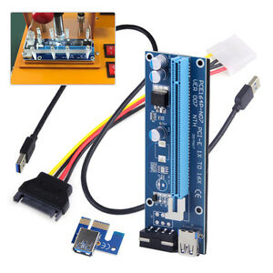 USB 3.0 Pcie PCI-E Express 1x To 16x Extender Riser Card Adapter BTC Power Cable