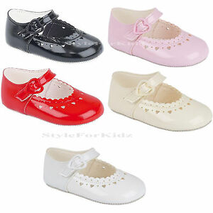 BABY GIRLS SHOES RED,WHITE,PINK CHRISTENING//WEDDING//PARTY PATENT PRAM SHOES