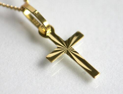 ECHT GOLD *** Sehr kleiner Kreuz Anhänger 18 mm