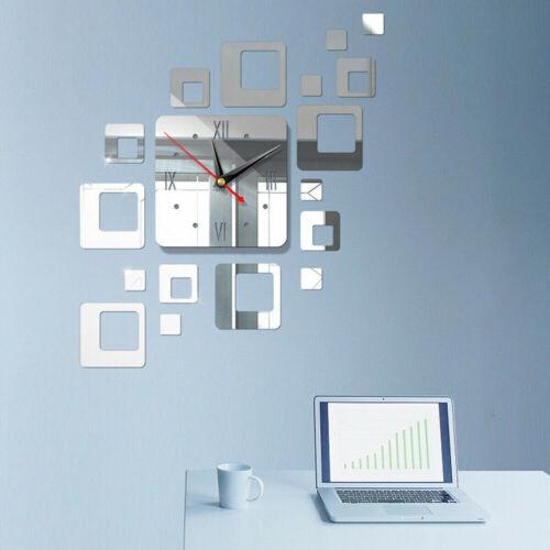 DIY Wall Clock 3D Crystal Mirror Living Room Gift Sticker Home Modern Decor I9X