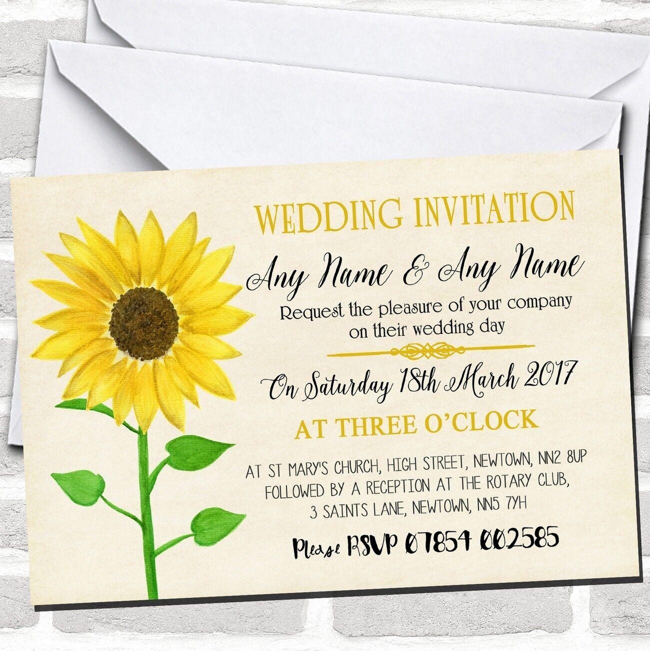 Vintage Girasol invitaciones formales para boda