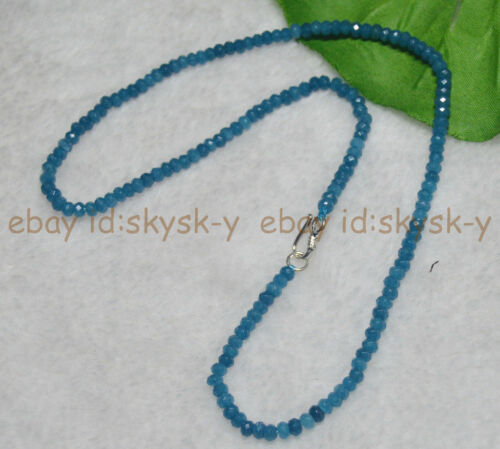 "AA 2x4mm Naturel Aquamarine Faceted Blotter Perles Colliers 18/"" fermoir argent"