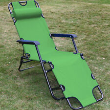 Chaise Lounge Patio Chair Outdoor Yard Beach Metal Folding Recliner Army Green